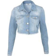Miss Selfridge Light Wash Cropped Denim Jacket ($35) ❤ liked on Polyvore featuring outerwear, jackets, tops, casacos, veste, bleached denim, bleached denim jacket, blue jean jacket, blue denim jacket and blue cropped jacket