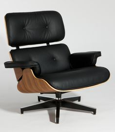 Lounge Chairs - Classic Lounge Chair and Ottoman - Black Semi Aniline Italian Leather