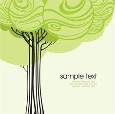 Cartoon line art tree 02 - vector