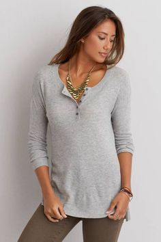 AEO Henley Pullover Sweater  by AEO | Say hello to your cooler-weather go-to. Made with a timeless Henley placket for the perfect accent.  Shop the AEO Henley Pullover Sweater  and check out more at AE.com.