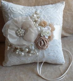 Champagne and Ivory Ring Bearer's Pillow