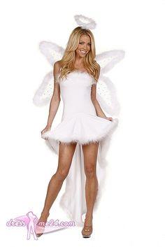 Besuche uns gern auch auf dressme24.com ;-) Engel Kostüm - Angels Dream No.2 - Trägerloses Stretch Microfaser Kleid, welches hinten lang - vorn kurz geschnitten ist. Dieses EngelsKostüm ist mit Marabou Federn verziert. Inklusive Heiligenschein. #Engelskostüm, #Damenkostüme, #Faschingskostüme