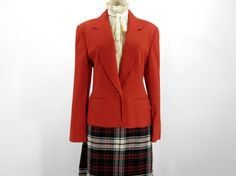 Vintage Red Wool Pendleton Blazer  Bright Red. Darted bodice, single button closure, and two purse pockets at hip.    Made by Pendleton. 100% wool. Labeled as a size 10. $46.00