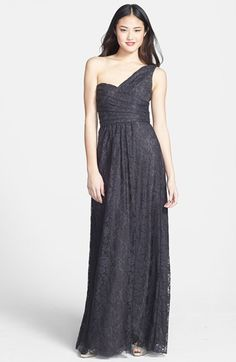 Amsale One-Shoulder Lace Gown available at #Nordstrom