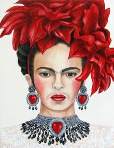 Frida Kahlo Christmas Portrait 2017 Oil Painting by k Madison Moore
