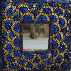 Tile & Mosaic For Sale | Blue and gold mosaic mirror | ArtsyHome-Home and Garden Design Ideas