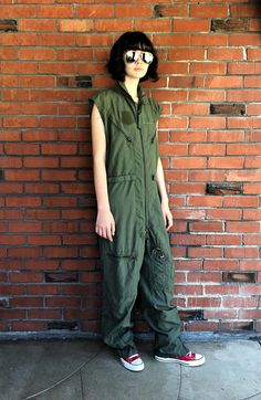 9dd532aaf0f8 Military Coveralls Jumpsuit Sleeveless Flight Suit Sz Small