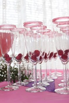 Cute for a bridal shower. I loove the pink sugar rimmed glasses!