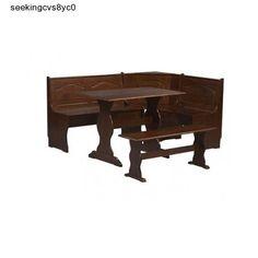 Kitchen Breakfast Nook Dining Set Corner L Shape Wood Table Bench Dinette Walnut