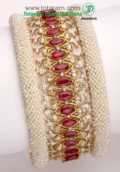 gold and diamond bracelet with rubies and pearls