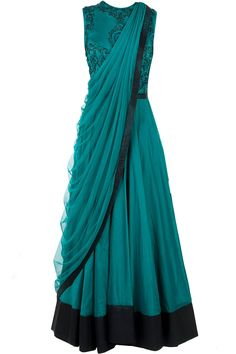 Green anarkali with draped dupatta available only at Pernia's Pop-Up Shop.