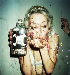 Celebrate with glitter kisses.