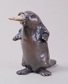 """Duck Billed Platypus"" by Rosalie Johnson. Discover more via link in image.  __________ Rosalie carefully selects the most appropriate material for each new piece to provide the required #texture, appearance and 'feel' using such varied substances as clay, composite #marble, #bronze, #silver, #pewter and even rust-finished iron. __________ Rosalie Johnson Duck Billed Platypus Signed Bronze 3 1/8 x 2 3/4 x 2 in 8 x 7 x 5 cms"