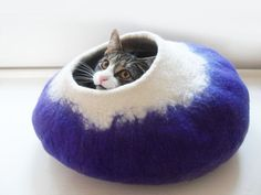Large felt Cat Bed Cave House Cocoon in purple and door LoveCatCaves