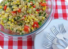 quinoa corn salad  -- I'll probably add cucumbers to this... having it with honey lime tilapia this week