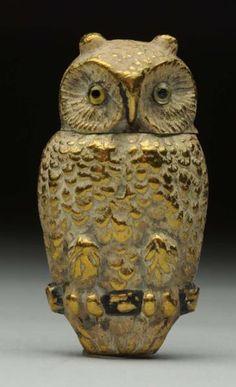 Brass Owl Figural Metal Safe Vesta.