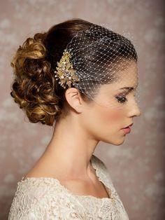 Braut Schleier und Gold Bridal Kamm Bandeau von GildedShadows
