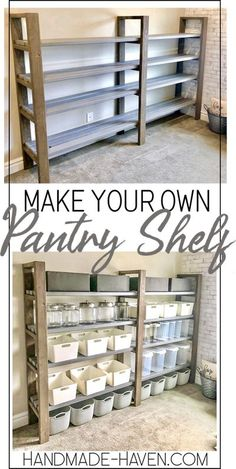 Shelves, Home Projects, Diy Furniture, Diy Storage, Diy Home Improvement, Diy Shelves, Diy Pantry Shelves, Diy Pantry, Diy Storage Shelves