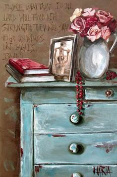 House Of Maria by Maria Magdalena Oosthuizen ✿⊱╮ by VoyageVisuel Oil Painting Flowers, Watercolor Paintings, Art Floral, Stella Art, Art Fantaisiste, Decoupage, Whimsical Art, Beautiful Paintings, Oeuvre D'art