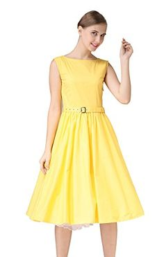 Hepburn Style 1950s Rockabilly Swing Evening Pinup Prom Retro Dress US18 Yellow -- You can get more details by clicking on the image.
