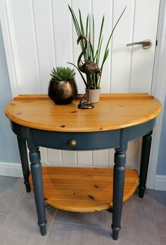 Half Moon Console Table, Console Table Living Room, Half Table, Living Room Decor, Dining Table, Side Table Decor, Table Decorations, Vintage Furniture, Painted Furniture