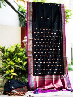 Banarasee/Banarasi  Katan Silk Bootidar Traditional Sari-Black
