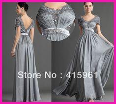 nuevo 2014 de plata de moda de manga corta de encaje de la madre de los vestidos de novia vestidos de noche de gasa m1778