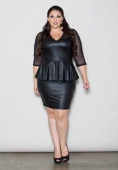 Plus Size Faux Leather Dress