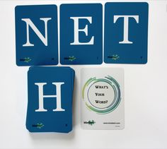 "Our MindStart ""What's Your Word Card Game"" is a great way to interact with those with dementia.   This card deck of double-sided letter cards has endless possibilities for use – spelling words, writing names, fill-in-the-blank words, and more.  #AlzActivity #Alzheimers #Dementia #Game #Cards #AlzAwareness #MindStart www.mind-start.com"