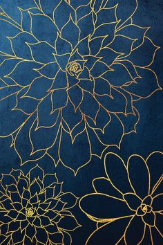 Navy Gold Succulent III Canvas Print by Urban Epiphany Blue And Gold Wallpaper, Navy Wallpaper, Flower Phone Wallpaper, Metallic Wallpaper, Gold Canvas, Canvas Wall Art, Canvas Prints, Flower Backgrounds, Wallpaper Backgrounds