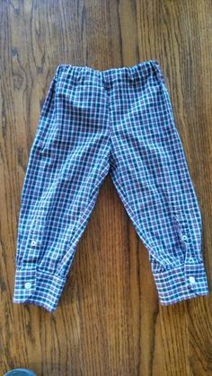 Sewing For Men Up-Cycled Baby/toddler Pants made from men's button up shirt Sewing For Kids, Baby Sewing, Sewing Ideas, Sewing Clothes, Diy Clothes, Refashioned Clothes, Diy Camisa, Toddler Pants, Kids Pants