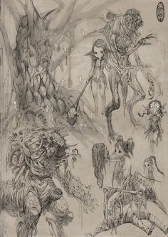 Horror sketches by Herman Ng on ArtStation. Creature Concept Art, Creature Design, Arte Horror, Horror Art, Comic Kunst, Comic Art, Fantasy Kunst, Fantasy Art, Drawing Sketches