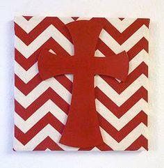 Red/Cream Chevron Cross Frame