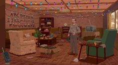 """""""Stranger Things"""" recreated as an adventure video game!  Game designer Jacob Janerka pays homage to the hit supernatural Netflix series with this point-and-click adventure game art."""