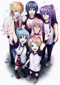 "Len, Kaito, Gackpoid, Luka, Miku, & Rin - Vocaloid. XD I love how Luka's just like,""WAFFLE."" Such a cute fan art ^_^"