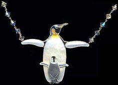 This wonderful Emperor Penguin and Chick Pendant Necklace with ten Swarovski Crystals is created by master artisans from Bamboo Jewelry. This unique, finely detailed, handcrafted enamel on sterling si Cute Baby Penguin, Penguin Love, Baby Penguins, Cute Jewelry, Jewelry Accessories, Penguin Necklace, Penguin Pictures, Crystal Necklace, Pendant Necklace
