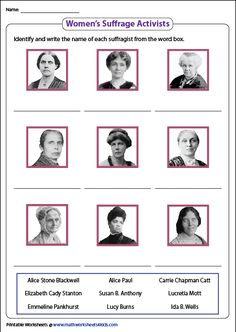 Grab these famous women in history worksheets featuring passages, flashcards to identify the famous female leaders, suffragists, rulers, pioneers and more. Social Studies Worksheets, Women In History, Famous Women, Ladies Day, Montessori, Homeschool, Language, Study, Education