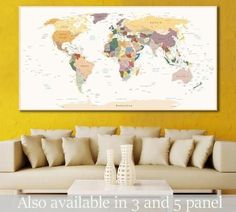 Detailed World Map №112 Canvas Print