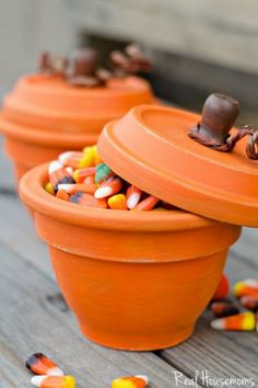 DIY Pumpkin Terracota Pots: Still have some Halloween candy left? Use them to fill terracotta pots for a fun, easy-to-make Thanksgiving craft that also works as a Thanksgiving decoration. Find more easy and fun DIY Thanksgiving craft ideas that can decorate your home this Thanksgiving here.