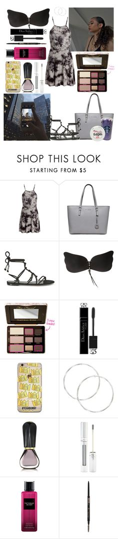 """City Lights"" by azariaaaaaa ❤ liked on Polyvore featuring Sans Souci, Rebecca Minkoff, Too Faced Cosmetics, Christian Dior, Oribe, Forever 21, Victoria's Secret and Anastasia Beverly Hills"