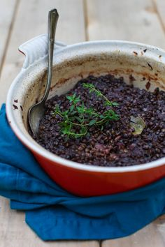 Beet Braised Lentils with Thyme and Apple | Simple Bites