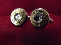 Bullet Cufflinks 45 Caliber Winchester Clear Crystal  by AGothShop, $25.00