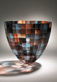 Fused glass art bowl in neutral blue and amber colors, with reflection artist: Kevin Gordon The design is amazingly beautiful! Glass Ceramic, Mosaic Glass, Fused Glass, Glass Vessel, Blown Glass, Mosaic Art, Art Of Glass, Stained Glass Windows, Glass Design