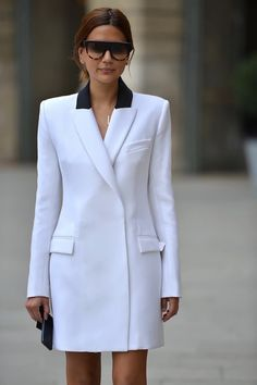 Christine Centenera - Josh Goot blazer, Tiffany & Co necklace, Celine sunglasses - Paris Fashion Week, Spring 2014 Blazer Dress, Coat Dress, Jacket Dress, Blazer Shirt, Shirt Dress, Street Chic, Street Style, Christine Centenera, Mode Top