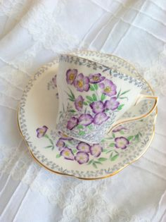 Vintage Rosina Tea Cup and Saucer/Purple Floral