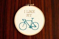 Bike Cross Stitch Pattern PDF  I Like My Bike by proudcloud, £2.00