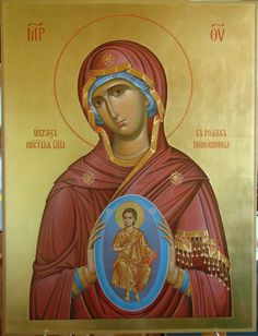 Icon of the Theotokos of the Sign. Byzantine Art, Byzantine Icons, Religious Icons, Religious Art, Jesus Christ Images, Blessed Mother Mary, Madonna And Child, Catholic Art, Orthodox Icons