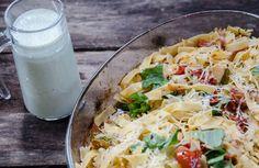Lyxig pasta med ugnsrostade grönsaker och pestosås