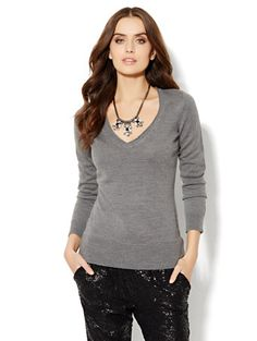 Shop Waverly V-Neck Sweater - Solid Rollneck . Find your perfect size online at the best price at New York & Company.
