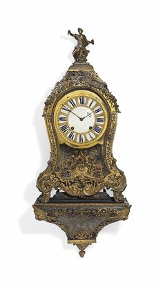 A LOUIS XIV ORMOLU-MOUNTED AND BRASS-INLAID TORTOISESHELL 'BOULLE' STRIKING BRACKET CLOCK -  VERGO, PARIS, FIRST HALF 18TH CENTURY, LATER DIAL.